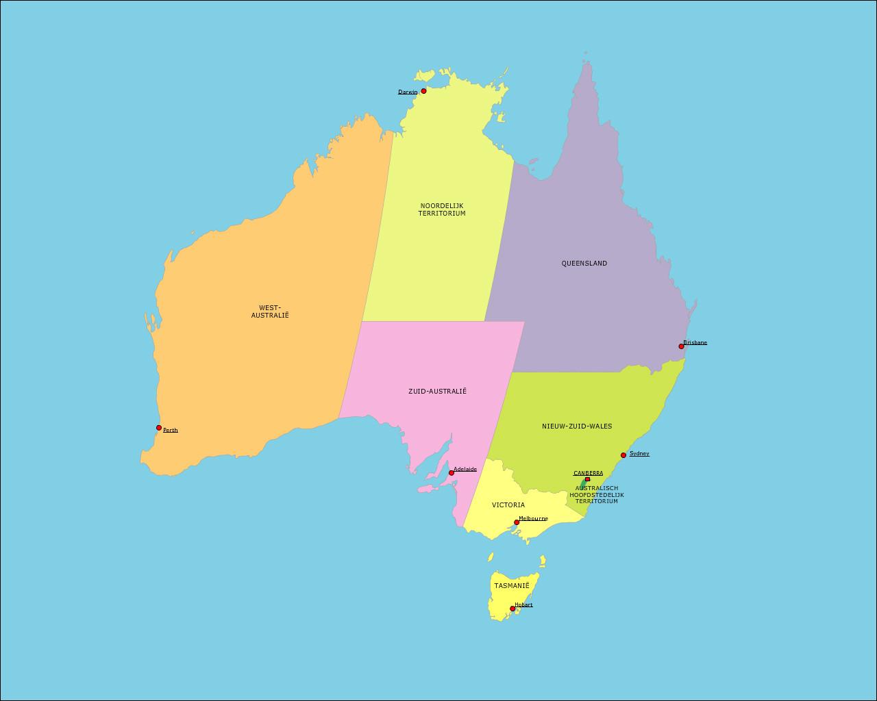 australie-staten-en-hoofdsteden