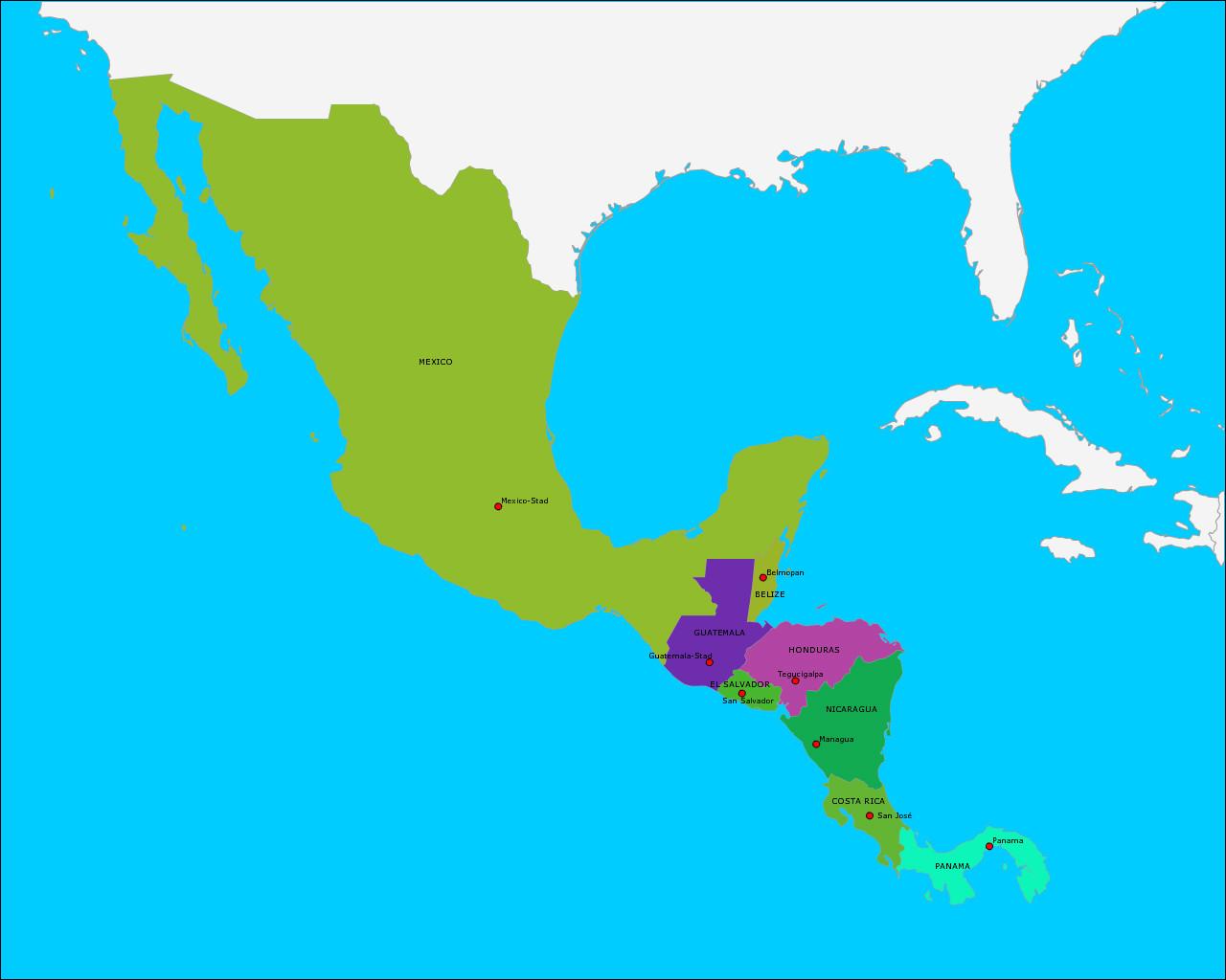 landen-en-hoofdsteden-van-centraal-amerika