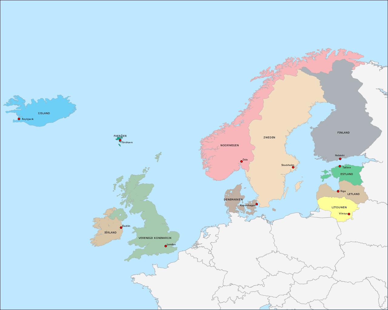 landen-en-hoofdsteden-van-noord-europa