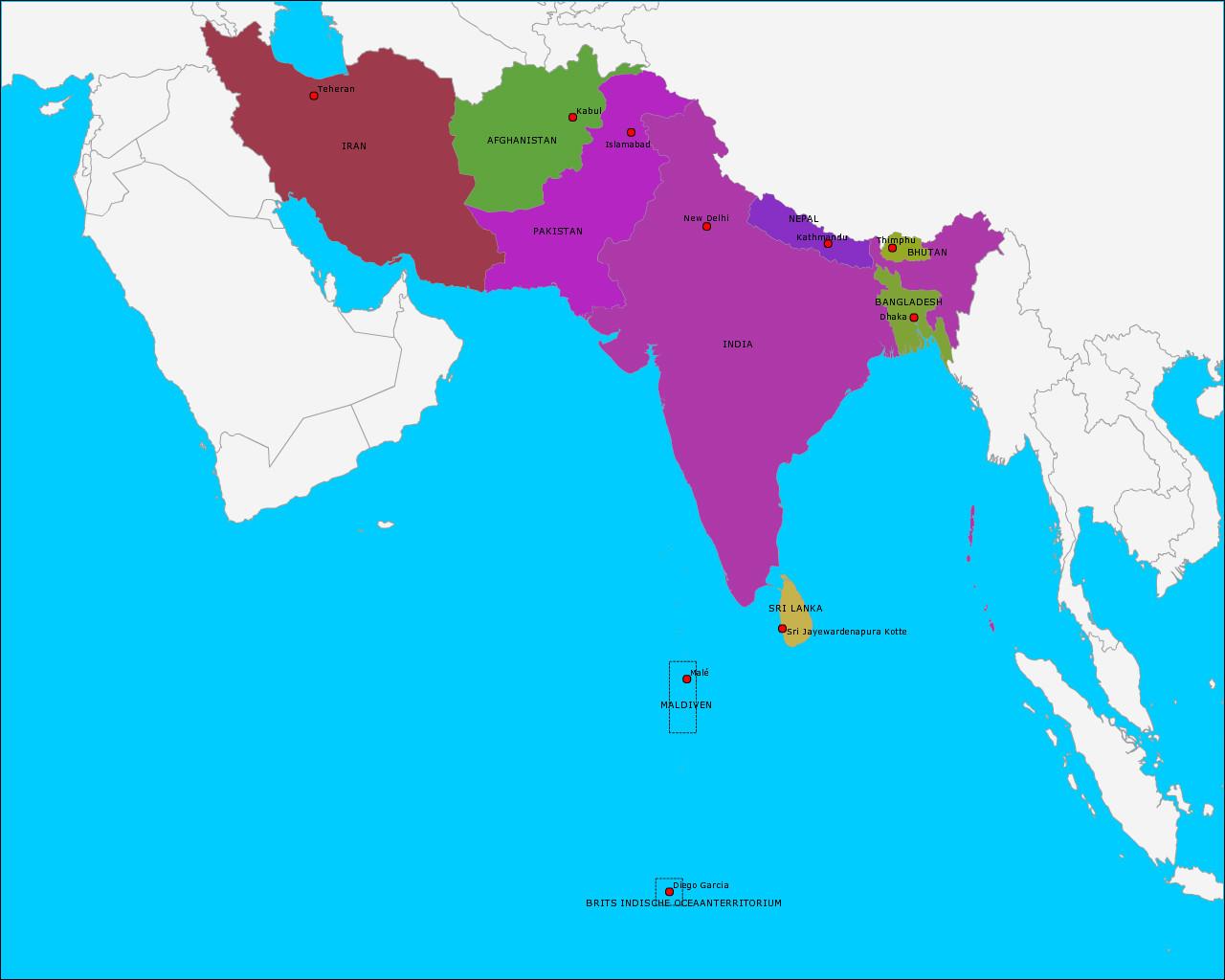 landen-en-hoofdsteden-van-zuid-azie
