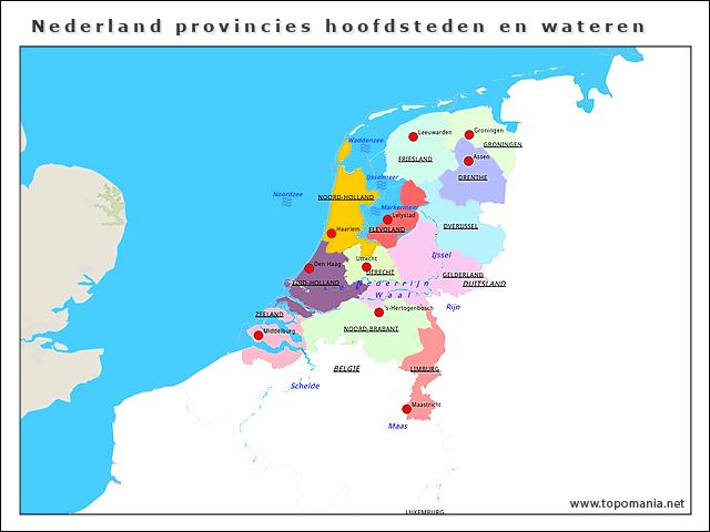 nederland-provincies-hoofdsteden-en-wateren