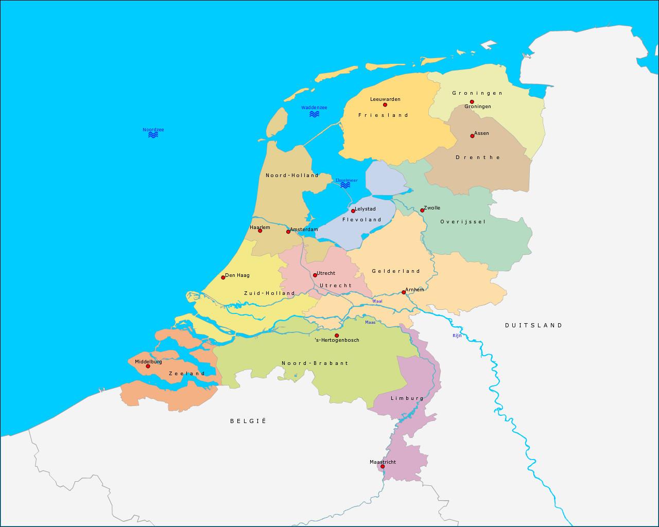 provincies-hoofdsteden-en-wateren-van-nederland
