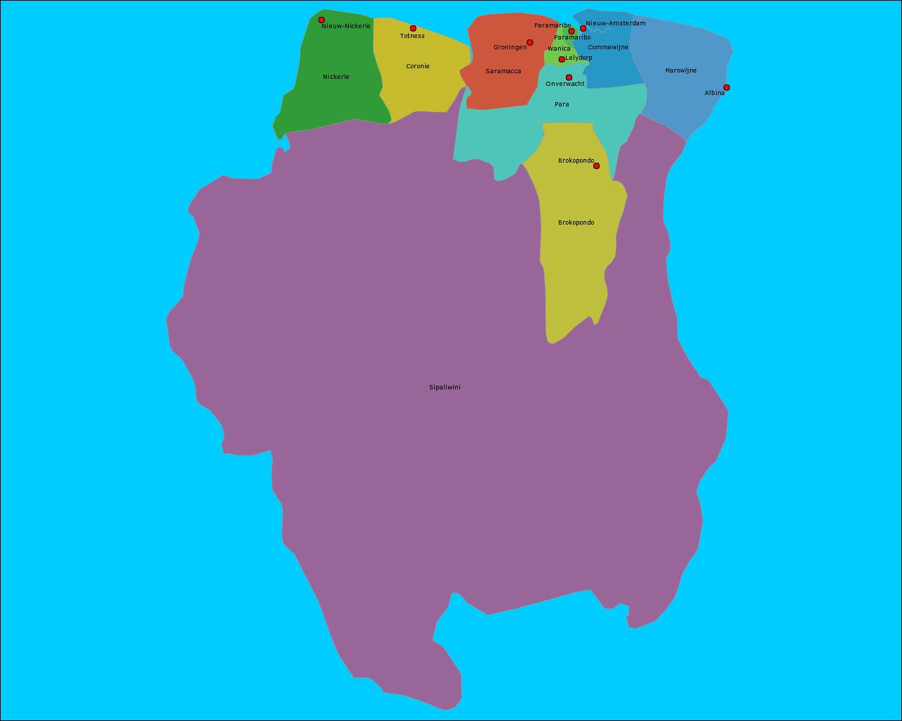 suriname-districten-en-hoofdsteden