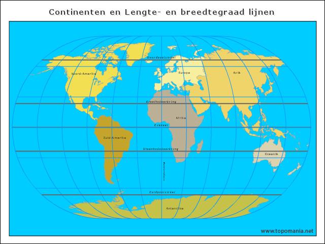 continenten-en-lengte-en-breedtegraad-lijnen