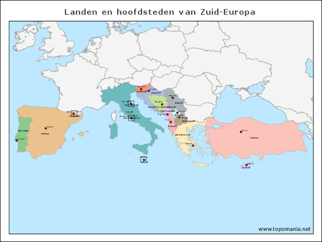 landen-en-hoofdsteden-van-zuid-europa