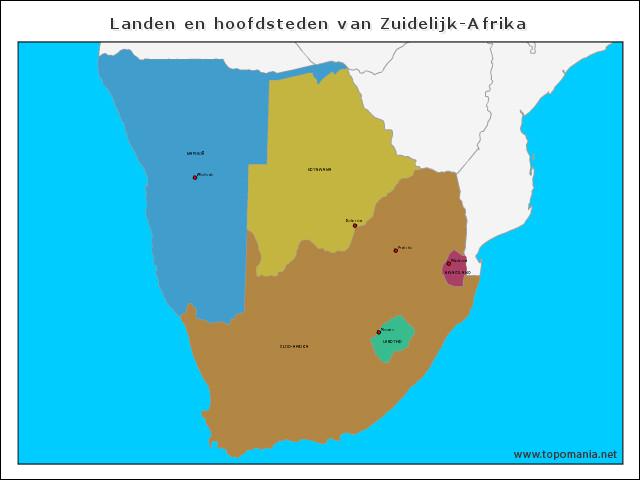 landen-en-hoofdsteden-van-zuidelijk-afrika