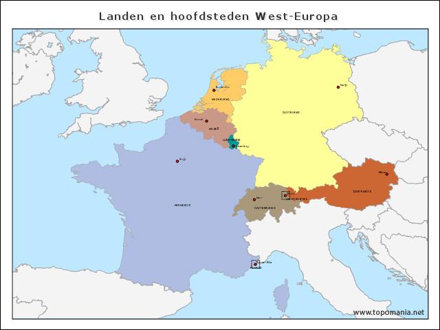 landen-en-hoofdsteden-west-europa